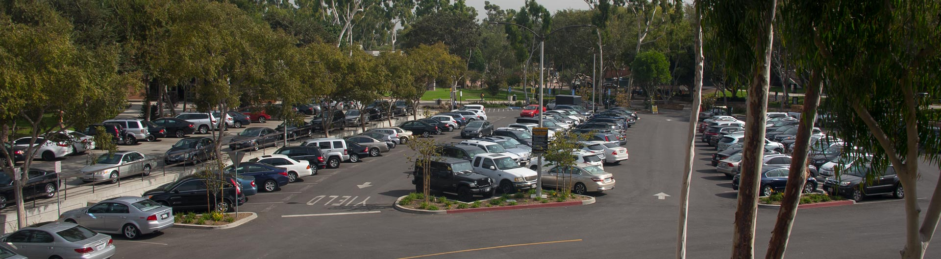 Campus Parking Lot Full of Cars